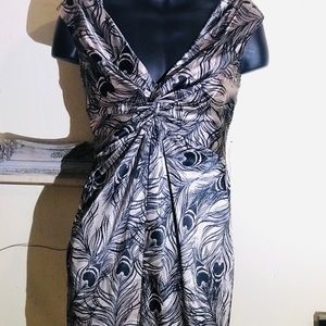 MAGGY L SHIMMER TAN BLACK PEACOCK FEATHER PRINT